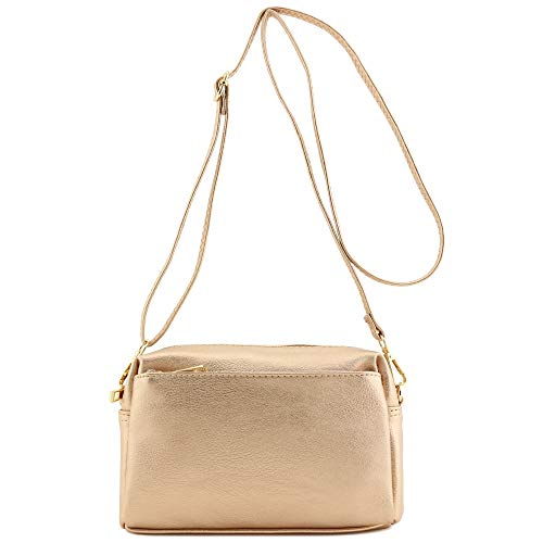 Triple Zip Small Crossbody Bag (Rose Gold)