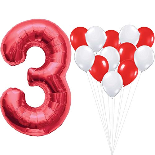KatchOn Number 3 and Red White Balloons - Large, 40 Inch Foiil Gold Balloons | 6 Red and 6 White Latex Ballon, 12 Inch | 3rd Birthday Party Decorations | Party Supplies for Anniversary Décor -