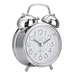 Jeteven 3 Twin Bell Alarm Clock with Backlight,Mini Non-Ticking Vintage Alarm Clock Quartz Analog Retro Desk Clock,Silver