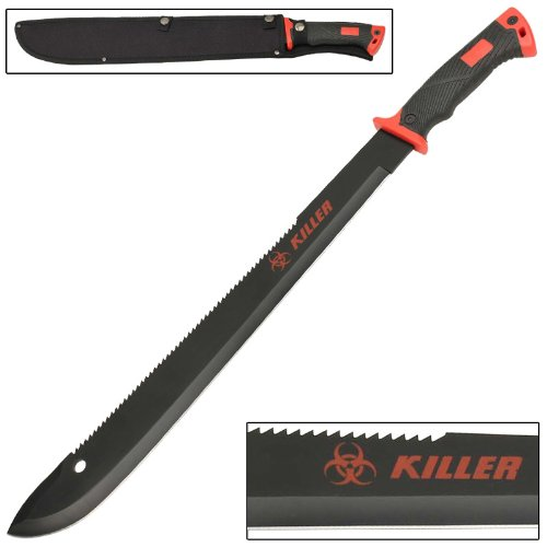 WARNING!! Bloody Red Zombie Killer Bolo Machete Knife by Armory Replicas