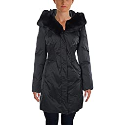 Elie Tahari Womens Down Rabbit Fur Parka Black L