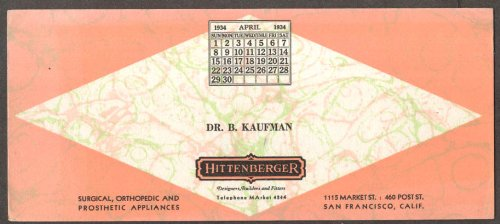 Hittenberger Prosthetic Appliances SF CA blotter 1934.