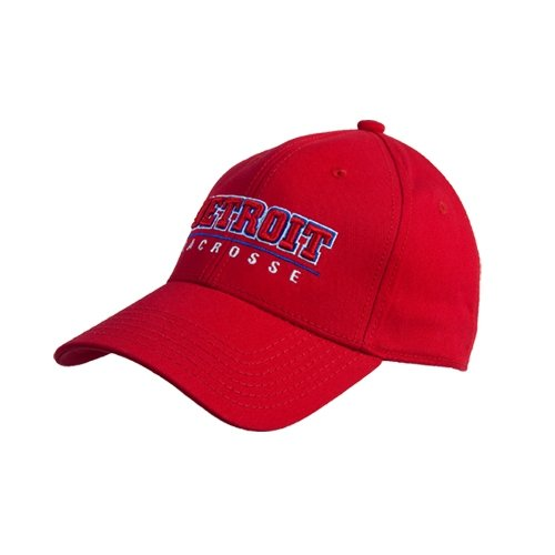 Detroit Red Heavyweight Twill Pro Style Hat 'Detroit Lacrosse Stacked'