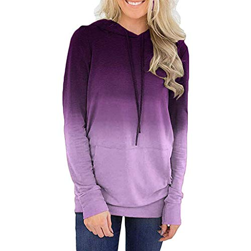 (Women Long Sleeve Hoodies with Pocket Dye Color Tunic Shirt Blouse Pullover Loose Drawstring Sweatshirt Purple)