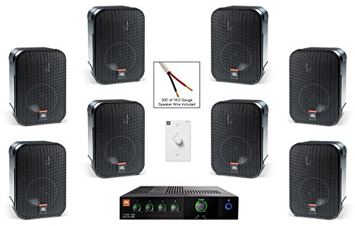 JBL CSS-1S/T Compact Two-Way Surface-Mount Loudspeaker Bundle with JBL CSMA 180 Mixer Amplifier and Accessories - Restaurant Sound System (11 Items) (Restaurant Sound System)