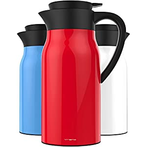 Vremi 51 oz Coffee Carafe - 1.5 liter Tea Thermos Large Travel Bottle Stainless Steel Vacuum Insulated with Leak Proof Lid - Thermal Carafe Hot Drink Carrier Container with Heat Cold Retention - Red