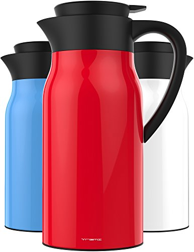Vremi 51 oz Coffee Carafe - 1.5 liter Tea Thermos Large Travel Bottle Stainless Steel Vacuum Insulated with Leak Proof Lid - Thermal Carafe Hot Drink Carrier Container with Heat Cold Retention - Red (Red Carafe)