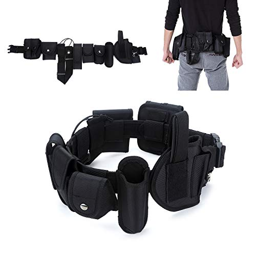 YAHILL Law Enforcement Utility Tactical Belt, Security Military Police Gear Heavy Duty Belt Nylon Combat Officer Equipment with Pouches Holster Gear, Black -