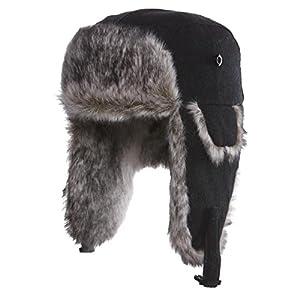 Dark Brown Rabbit Fur Trer Hat Ushanka Lumberjack Beautifully Soft