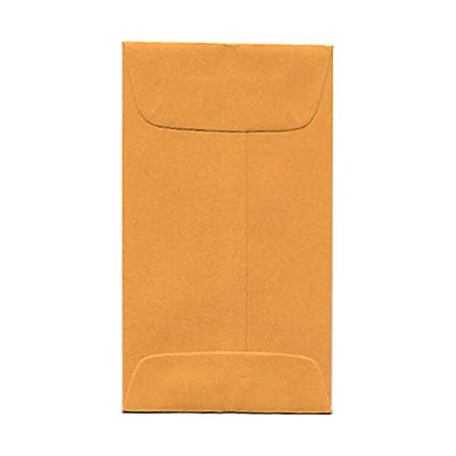 JAM PAPER #3 Coin Business Colored Envelopes - 2 1/2 x 4 1/4 - Brown Kraft Manila - (Quality Park Coin Envelope)