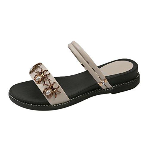 Jitong Slip-on Flat Shoes for Women Open-Toe Low Top Casual Beaded Sandals Streetwear Beige #2 vcYu4XnWS