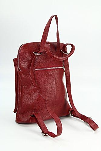 Belli - Bolso mochila  de Piel para mujer Multicolor marrón rojo burdeos