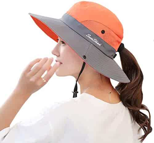 9ee31a7131d BBNVIGOR Sun Hat for Women Outdoor UV Protection Foldable Mesh Wide Brim  Bucket Hat Foldable Mesh