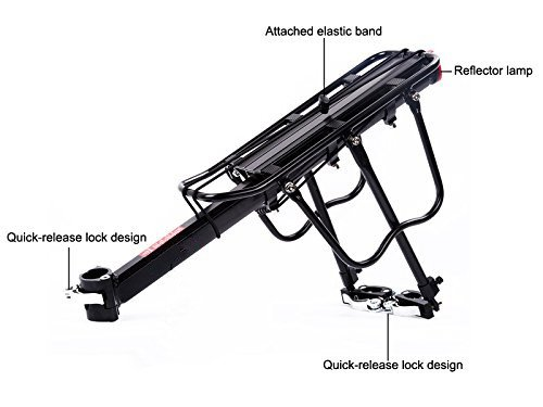 COMINGFIT Upgrade 110 Lb Capacity Aluminium Carrier Rear Bicycle Pannier Full Quick Release Rack with Reflector by COMINGFIT (Image #3)