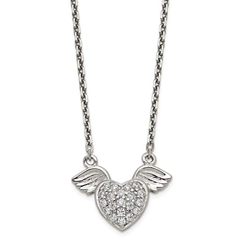 925 Sterling Silver Cubic Zirconia Cz Heart Wings Chain Necklace Pendant Charm Wing Fine Jewelry For Women Gift - Frames Holder Picture Jewlery