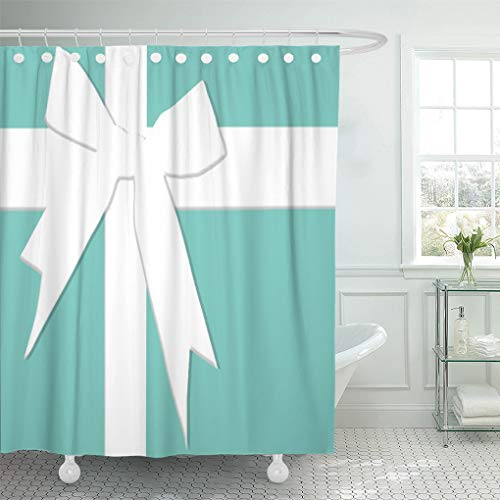 (Semtomn Shower Curtain Blue Tiffanys Inspired Turquoise Please Return Designer Jewelry 72