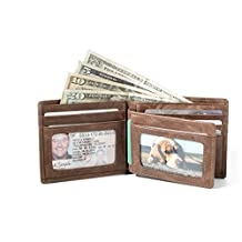 Western RFID Wallet Leather Bifold with Sidekick Mini - Industry Best Shielding - Quality Leather (Natural Brown)