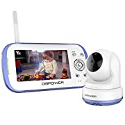 DBPOWER Digital Video Recorder Baby Monitor System with 4.3-Inch Color LCD Screen, Remote Camera Pan-Tilt-Zoom, Lullaby, Night Vision, Two Way Audio and Recording, Includes Compatible Mount Shelf