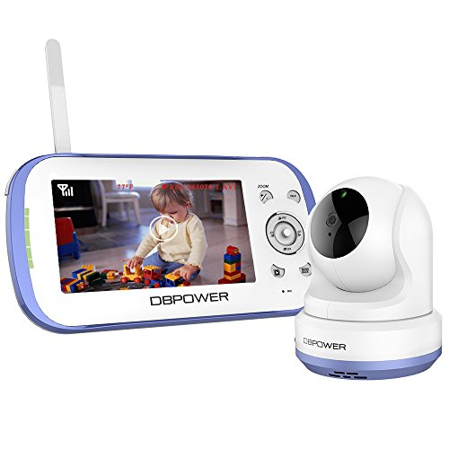 DBPOWER Digital Sound Activated Video Record Baby Monitor with 4.3-Inch Color LCD Screen, Remote Camera Pan-Tilt-Zoom, Lullaby, Night Vision, Two Way Audio and Recording, Compatible Mount Shelf by DBPOWER