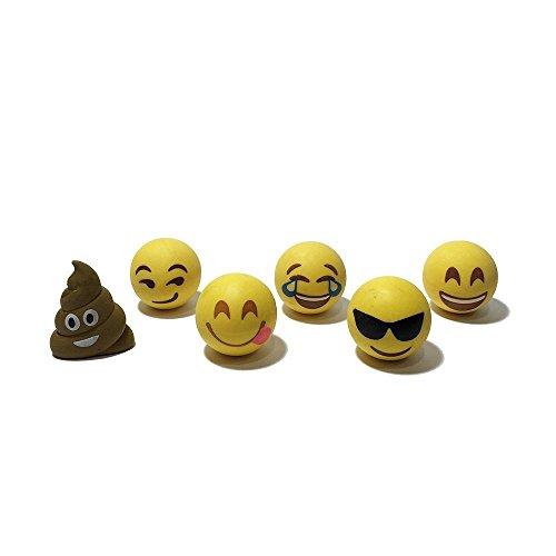 I EM JI Pencil Top Erasers - Emoji Erasers for Kids - Fun Pencil Top Eraser (Set 2 (6 Pack))