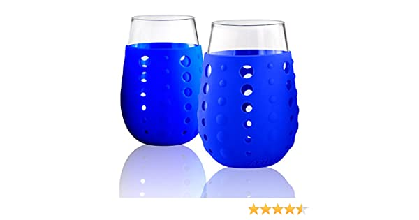 Berry Artland 15 oz Hydra Sip Glasses with Silicone Sleeves in a Gift Box Small Set of 2