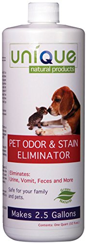 Unique Pet Odor and Stain Eliminator - Concentrate | Makes 2.5 Gallons | Eliminates odors and stains on all surfaces no matter how old the problem is