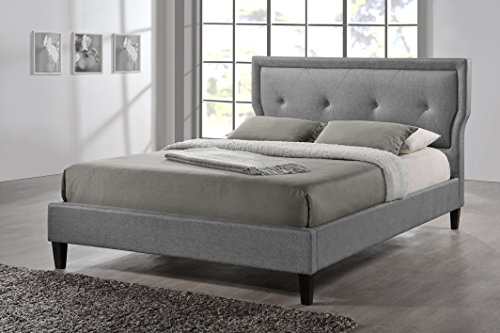 Baxton Studio Marquesa Grey Fabric Upholstered Platform Bed, King