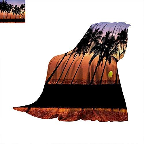 Hawaiian Digital Printing Blanket Hawaiian Sunset on Big Island Anaehoomalu Bay Ocean Romantic Resort Summer Quilt Comforter 62