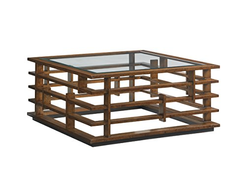 Tommy Bahama Island Fusion Nobu Square Glass Coffee Table in Brown ()