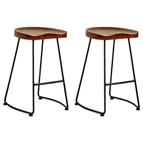 Mod Made Modern Potter Saddle Seat Metal Leg Wood Barstool (Set of 2), Walnut