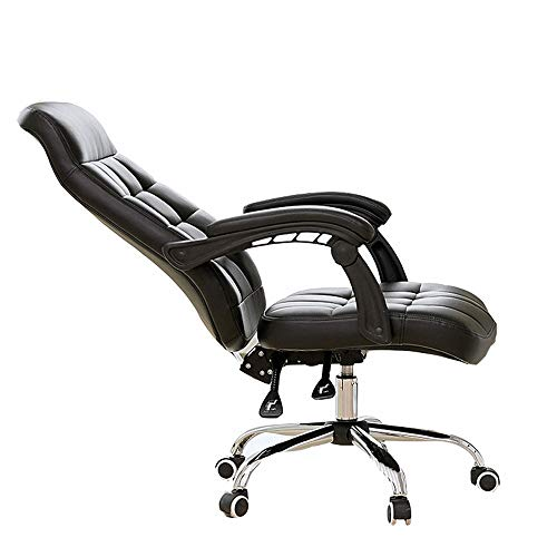 (LJHA Swivel Chair, Ergonomic Chair, Comfort Design Home Office Computer Swivel Chair, PU Padding Desk Chair with Extended Legrest and Recliner (Brown/Coffee/White) Leisure Chair (Color : Black))