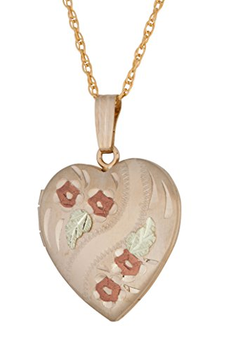 Heart Locket with Roses Pendant Necklace, 10k Yellow Gold, 12k Green and Rose Gold Black Hills Gold Motif, 18