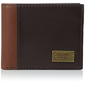Tommy Hilfiger Men's Leather Melton Passcase Billfold Wallet with Removable Card Holder