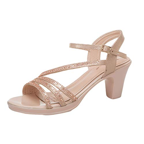 Fastbot Women's Summer Sandals Open Toe Casual Comfort Rome Retro Girl Peep Toe Buckle Heels Elegant Ladies Shoes Beige