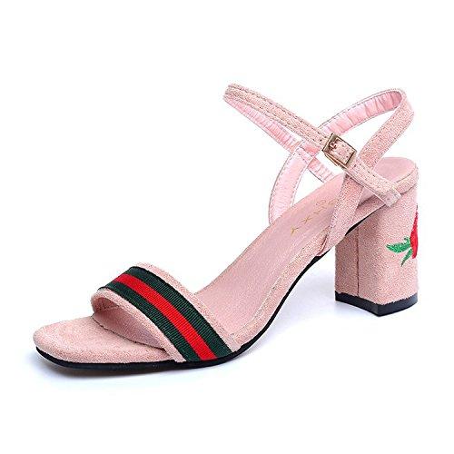 69c031ddbc2 WHL Shoes Los Zapatos De Tacón Alto Sandalias De Rocío Ranurada Pesada Con  Hebilla Rosas De