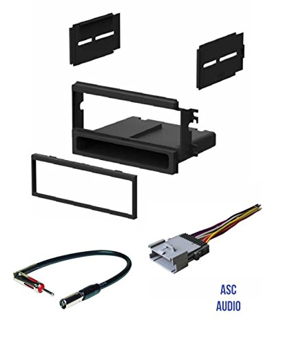 ASC Car Stereo Install Dash Kit, Wire Harness, and Antenna Adapter for installing an Aftermarket Single Din Radio for 2003 2004 2005 2006 Kia Sorento EX Vehicles