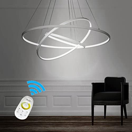 LightInTheBox Dimmable 90W Pendant Light Modern Design LED Three Rings Chandeliers White Color Voltage 110-120V with Remote Control