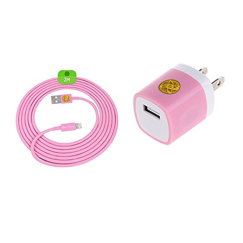 6Ft Lightning Heavy Duty Braided Data Sync Charging Cable + Hi-Performance Wall Adapter Bundle for iPhone 7, 7Plus (Pink)