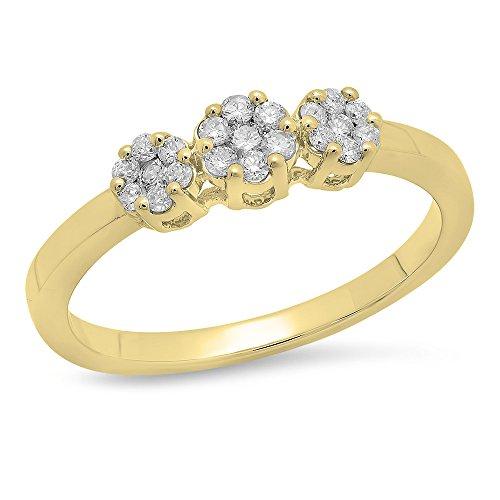 0.23 Carat (ctw ) 10K Yellow Gold Round White Diamond Flower Right Hand Ring 1/4 CT (Size (Diamond Flower Right Hand Ring)