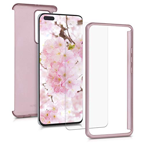 kwmobile Cover Compatible with Huawei P40 Pro - Protective Full Body Case with Screen Protector - Metallic Rose Gold
