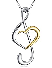 (Musical Note Necklace Pendant) 925 Sterling Silver...