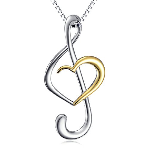 "(Musical Note Necklace Pendant) 925 Sterling Silver Jewelry For Women, Box Chain 18"" (Gold Plated)"