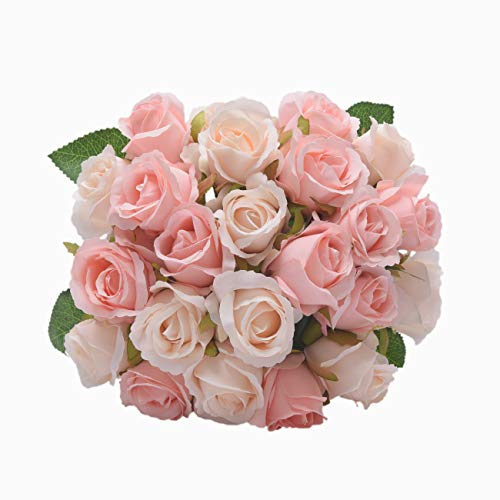- NYRZT Artificial Flowers Silk Roses 24 Heads Bridal Wedding Bouquet Decoration Home Garden Party Decor (Pink Champagne)