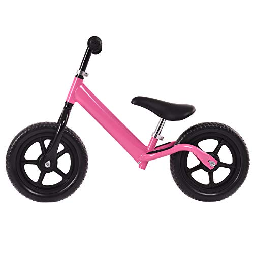Classic Pink Pedal - Costzon Kids Balance Bike, 12 Inch Classic Lightweight No-Pedal Toddlers Walking Bicycle w/Height Adjustable Seat and Handle, for Children Boys & Girls Age 2-5 (Pink)