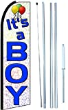 It's a Boy Swooper Flutter Flag Store Sign Kit with Hybrid Flagpole and Mount (3 x 11.5 ft Partial Sleeve Flag) One-Side Printing For Sale