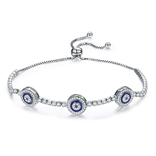 BISAER Adjustable 925 Sterling Silver Cubic Zirconia Blue Eye Charm Link Dangle Tennis Bracelet for Women Girls - Elegance Tennis Bracelets