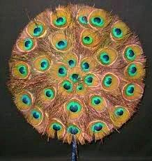 peacock feather hand fan - 6