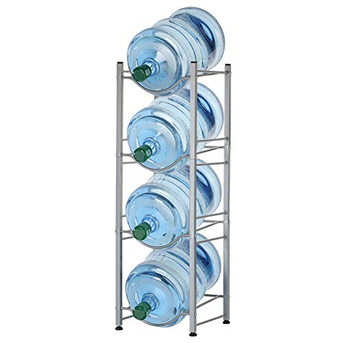 4-Tier Water Bottle Holder Shelf Cooler Jug Rack, Detachable Heavy Duty Water Bottle Cabby Rack, 5 Gallon Water Bottle Storage Rack