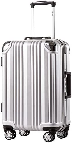 Coolife Luggage Aluminium Frame Suitcase TSA Lock 100%PC 20in 24in 28in (Sliver, M(24in))