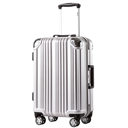 Coolife Luggage Aluminium Frame Suitcase with TSA Lock 100% PC (M(24in), Silver) ()